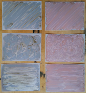 Papers coated with artists' masking fluid (left hand column) and artists' varnish (right hand column)