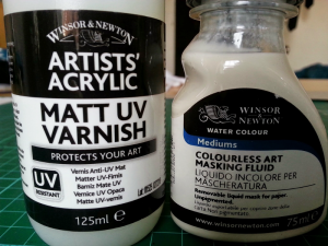 Artists varnish and masking fluid, to be tested as potential chemigram resists.
