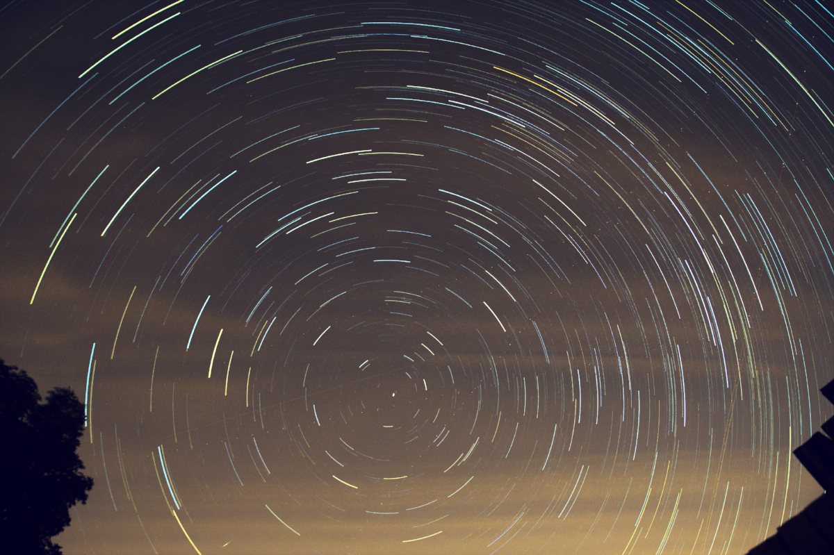 The basic star trail image with no sky glow adjustments applied