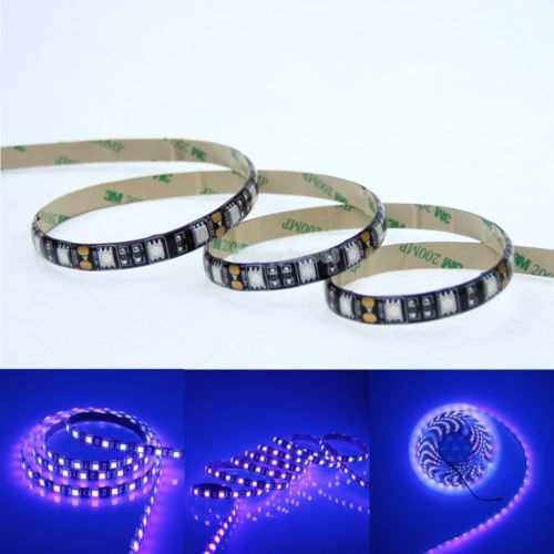 5M UV (395-405nm) waterproof 5050 SMD 300LED strip, powered by a 12 V @ 5 amp supply